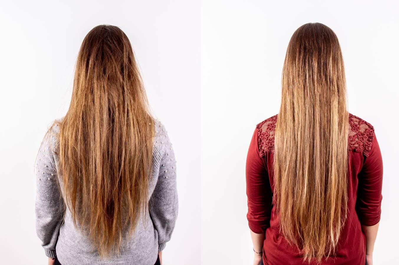 Vorher Bild von trockenem Haar, Nachher Bild von glänzendem Haar