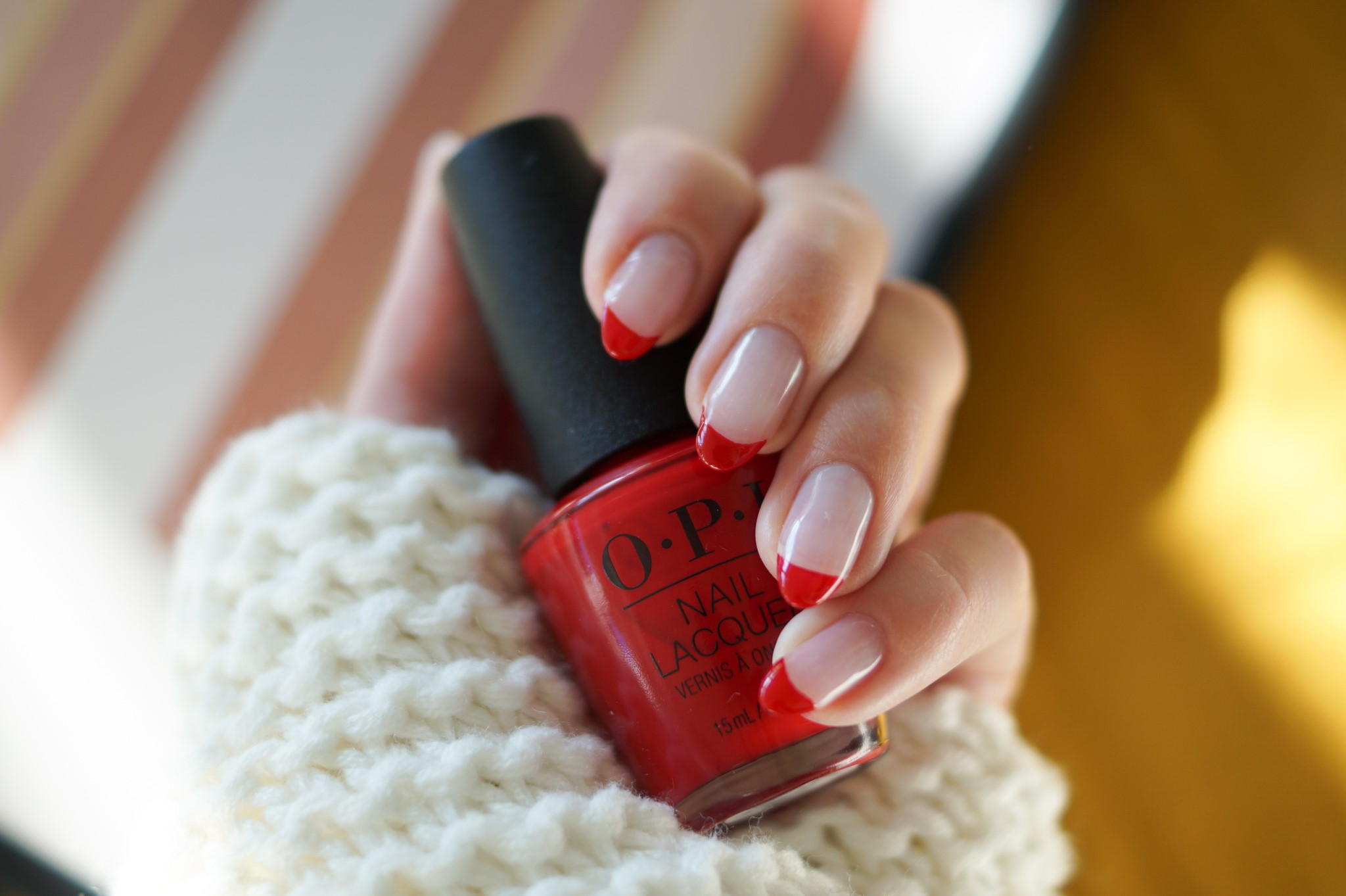 Rote French Tips mit OPI