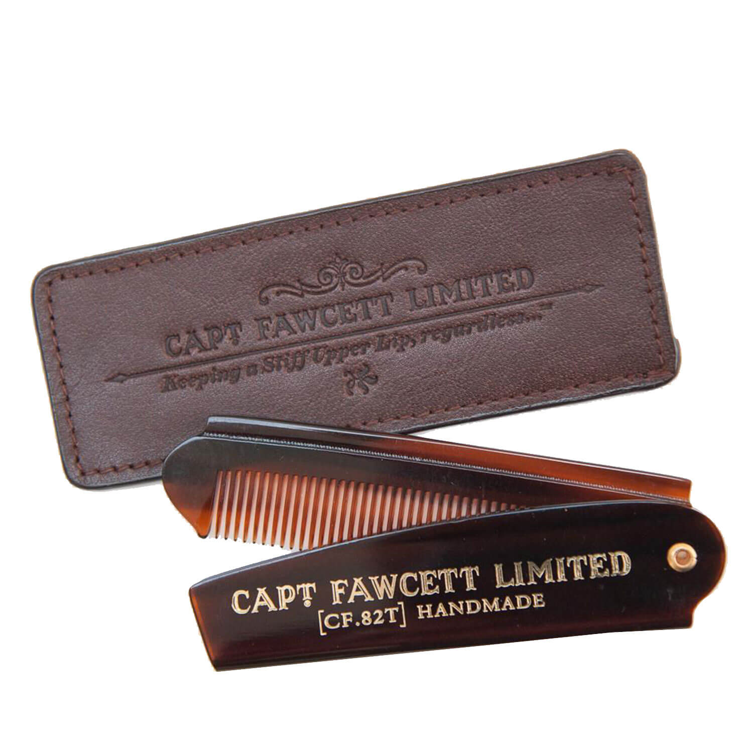 Capt. Fawcett Tools - Folding Pocket Beard Comb with Leather Case -